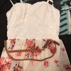 Floral Print White Dress with Belt(NEW)